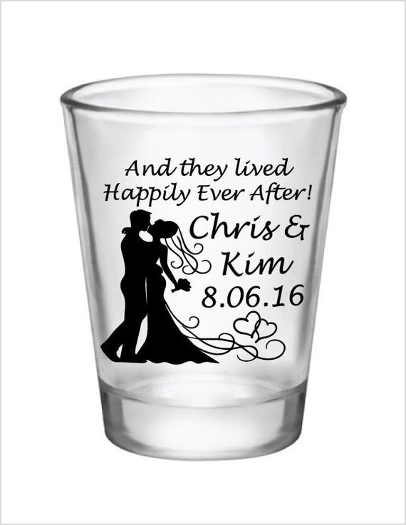 shot glass wedding favors glass shot glasses and they lived