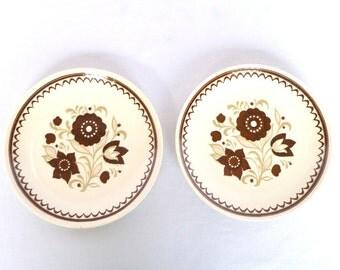SWEDISH FLORAL Dessert PLATES/ Pair/ usa pottery