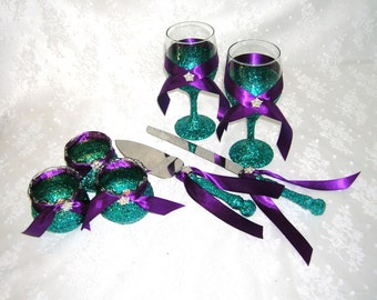 Teal Glittered Toasting Flutes or Wine Glasses, Serving Set and 3 Candle Glasses With Purple Satin Ribbon and Crystal Bling
