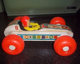 Fisher Price 8 Bouncy Racer wooden race car - hard to find! - dated 1965