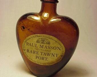 c1940s Paul Masson Rare Tawny Port Wine Vineyard Springs Saratoga, California , Nip Sample Heart Shape Bottle