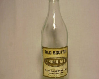 c1920s Old Scotch Ginger Ale Manufactured By Old Scotch Co. Augusta, Maine 15 Ounce Soda Bottle with paper label