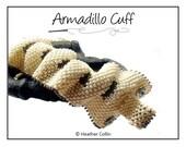 Beading Pattern, Instructions, Tutorial, Flat Peyote Stitch Ruffle Wide Ripple Cuff Instant Download ARMADILLO CUFF