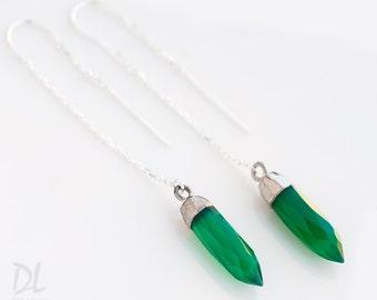 Green Onyx Earrings - Spike Earrings - Silver Ear Thread Earrings - Ear Threader Earrings - Minimal Jewelry - Long Thin Silver Dangle