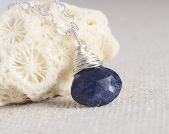 Handmade Natural Blue Sapphire Necklace, Wired Wrapped, Sterling Silver, September Birthstone