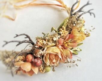 Newborn autumn or fall headband with antlers tie back, newborn photography
