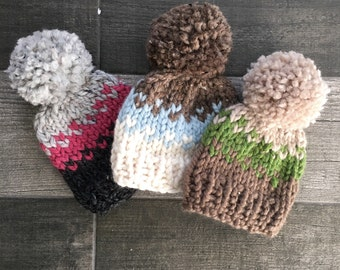 Fair Isle Newborn Chunky Hat with Pom Pom //Photo Prop//Bringing Home Baby//Baby Shower Gift