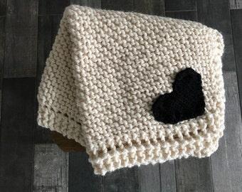 Baby Blanket with Heart/ Fisherman /The Mini Abra