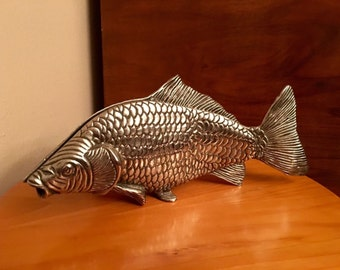 Fish Metal Italian Mid Century Sculpted Fish Silver Plated Slotted Letter/Bill/Photo Holder Realistic Life Size Form -Mello Despo