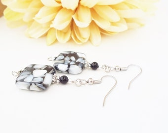 Black and White Earrings, Boho Earrings, Sterling Silver, Clip On Earrings, Mother of Pearl, Gift for Her, Mosaic Earring, Bohemian Earrings