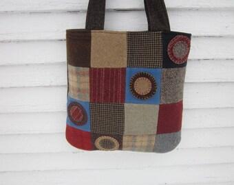 Wool patchwork bag, wool purse, wool penny rug purse