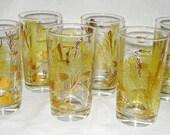 Set of 6 Vintage 1960s Drinking Glasses with Metallic Gold Sea Life Motif 8 oz