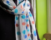 Hand Painted Silk Crepe de Chine - African Polka Dots and Black Stripe Shawl like Scarf