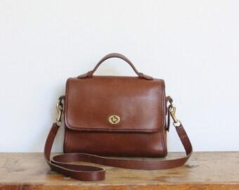 Vintage Coach Bag // Coach Court Bag // Leather Messenger Purse Handbag British Tan 9870