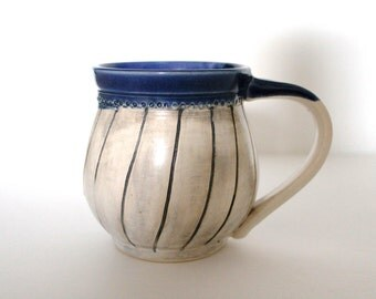 Pottery Coffee Mug, Pottery Tea Mug in white and blue by RiverStone Pottery