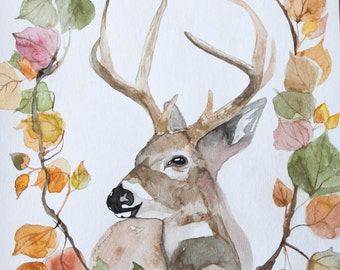 Rustic Home Decor- Deer Watercolor Art Through The Woods Archival Print