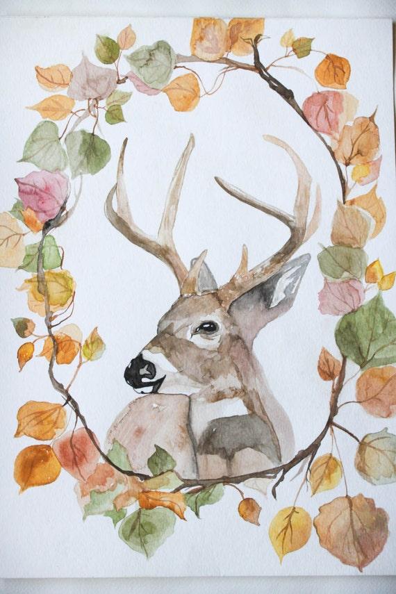Rustic Home Decor- Deer Watercolor Art Through The Woods Archival Print