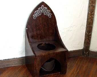 Gothic Commode Chair, Medieval Dollhouse Miniature, 1/12 Scale, Hand Made