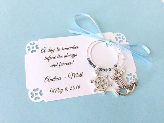 nautical theme wine charm favors for bridal shower or wedding