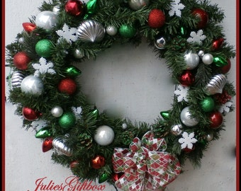 """Lighted Wreath-Christmas Holiday Red, Green, Silver, White-Clear Lighted Life-Like 20"""" Free Wreath Hanger + FREE Shipping USA Only"""