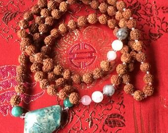 Yoga Jewelry, Yoga Necklace, Amazonite Necklace, Mala Bead Necklace, Rudraksha Mala Beads, Prayer Beads, Healing Necklace, Crystal Necklace