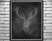 Holiday Printable Poster - Black Chalkboard Geometric Deer Print, Wall Art, Invitations - Instant Digital Download 16x20
