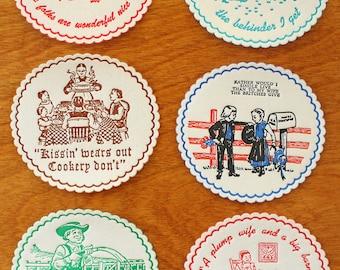 6 Pennsylvania Dutch Coasters - Felt Cocktail Coasters - Vintage 1960s Funny Pennsylvania Dutch Comics