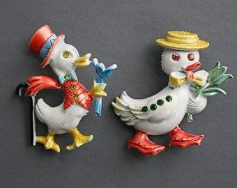 Vintage Easter Pins, Vintage Enamel Pins, Vintage Duck Pins, BJ Enamel Pins, Enamel Easter Pin, Set of Two