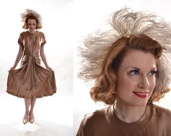 Vintage 1940s Satin Wedding Dress - Ostrich Feather Headband - Fall Bridal Fashions