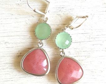 Coral Pink Teardrop and Mint Dangle Earrings in Silver. Earrings. Drop Earrings. Coral Dangle Bridesmaid Earrings.
