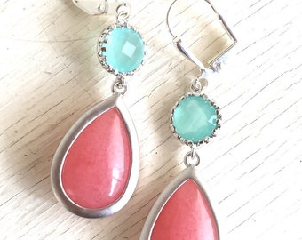Coral Pink Teardrop and Aqua Stone Dangle Earrings in Silver. Fashion Earrings. Bridesmaid Earrings. Drop Earrings. Wedding Jewelry.