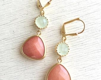 SALE - Creamy Orange and Light Mint Dangle Earrings.  Orange Mint Drop Earrings. Bridemaid Earrings. Bridesmaid Jewelry. Wedding  Earrings.