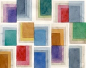 """Tapestry: Original Watercolor Abstract Painting Modern Art 12""""x16"""" geometric rectangles pattern red orange yellow green blue purple grey"""