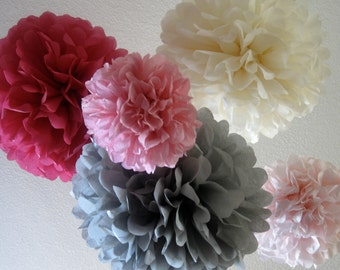12 Tissue Paper Pom Poms - Rustic Wedding decorations - Your Color Choice - Sale - Gray Sangria Blush Pink decorations -