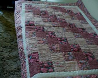 Pink Diagonal Patchwork Lap Quilt