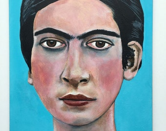 Original acrylic portrait painting // Frida Kahlo as a Young Woman, 1926 // original art on 5 x 7 panel