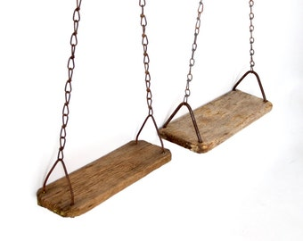 primitive swing pair, vintage rustic wood swings
