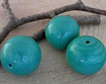 Sea Green 18mm Round Handmade Lampwork Beads                    CC-80250-1