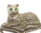Vintage Cat brooch/pin Victorian Revival/Etruscian green rhinestone eyes exotic Cat Lovers Mom