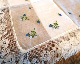 Vintage Handkerchief White Blue Flowers wide Lace trim Bride 'something Blue' Something Old...