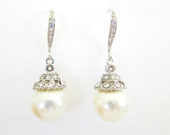 Pearl Earrings, Art Deco Bridal Earrings, Bridal Earrings, Art Deco Pearl Earrings, Cubic Zirconia, Vintage Wedding,Drop Pearl Earrings,