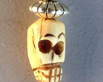 Carved BONE SKULL Charm Día De Los Muertos Primitive Tribal Day Of The Dead  OOAK