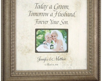 TODAY A GROOM Mother ot the Groom Gift, Personalized Wedding Frame for Parents of the Groom Thank You Gift, 16 X 16