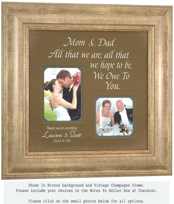 Personalized Picture Frame Wedding Gift For Parents and Father Of The Bride, All That We Are, 16 X 16