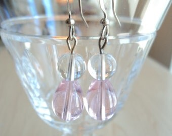Glass Beads Earrings. Pink and Transparency.