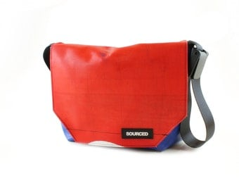 Messenger Bag made from Upcycled Truck Tarp, Laptop Bag, Courier Bag, Eco Friendly and Handmade (K06)