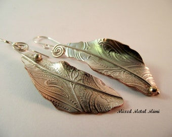 Silver Feather Earrings Vintage Recycled Jewelry Sterling Silver Mixed Earrings Silver Platters One of Handcrafted Eco Friendly -E-048