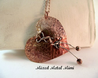 Copper Mended Heart Pendant Copper Chain Sterling Silver Upcycled Recycled Copper Plate Copper Beads Love Broken Heart Steampunk -N-015