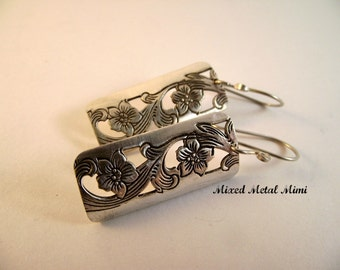 Silver Earrings Long Earrings Rectangle Vintage Recycled Jewelry Sterling Silver Mixed Earrings Recycled Vintage Engraved Flower -E-037