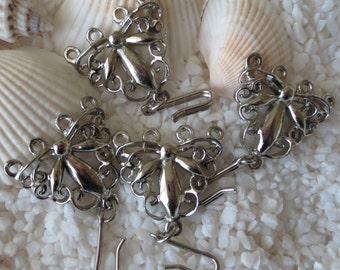Vintage Butterfly 4 Strand Necklace Clasps - Silvertone - 20mm x 20mm - 6 pcs